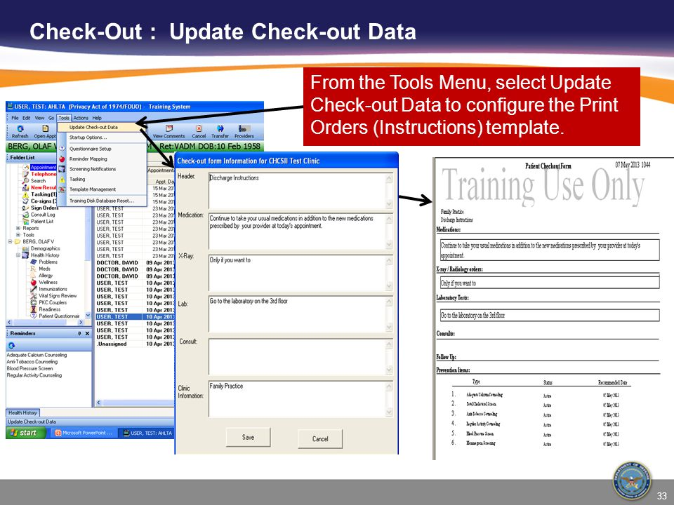 Check-Out : Update Check-out Data