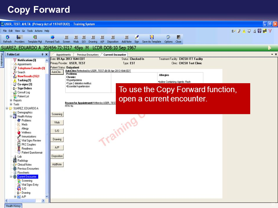 Copy Forward To use the Copy Forward function, open a current encounter.