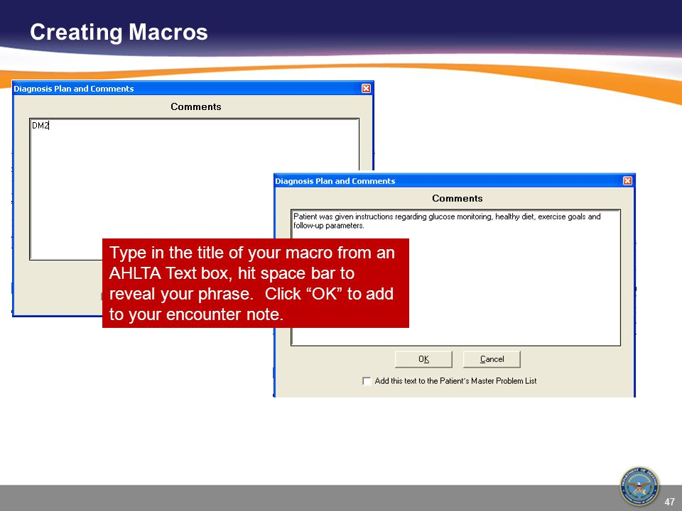 Creating Macros