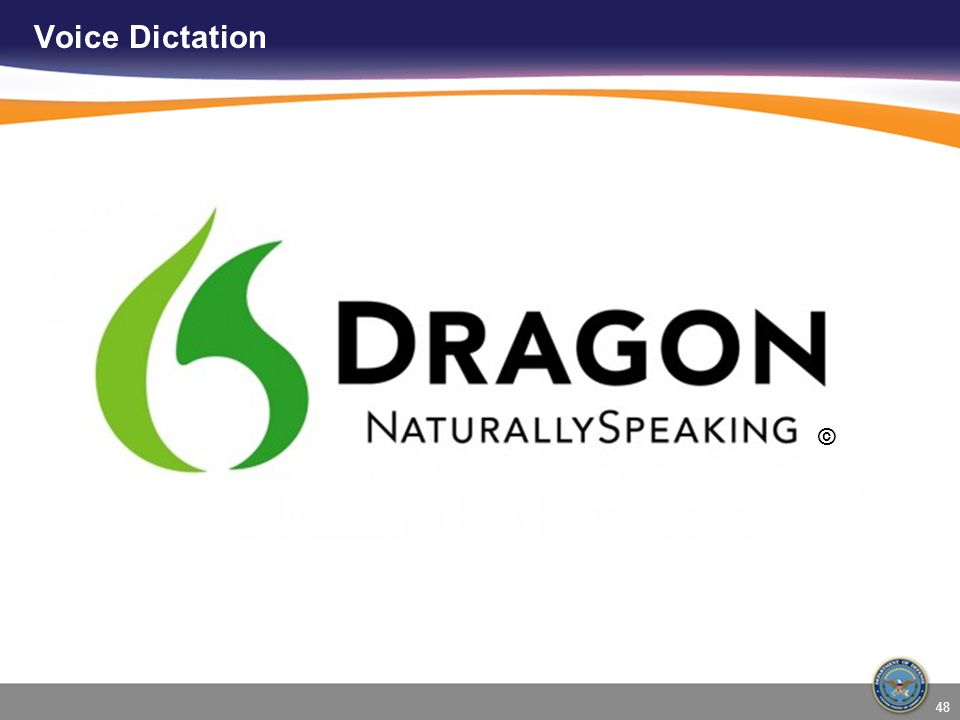 Voice Dictation © This is the logo for Dragon Naturally Speaking 48