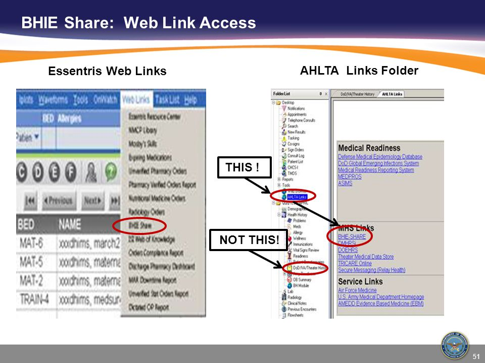 BHIE Share: Web Link Access