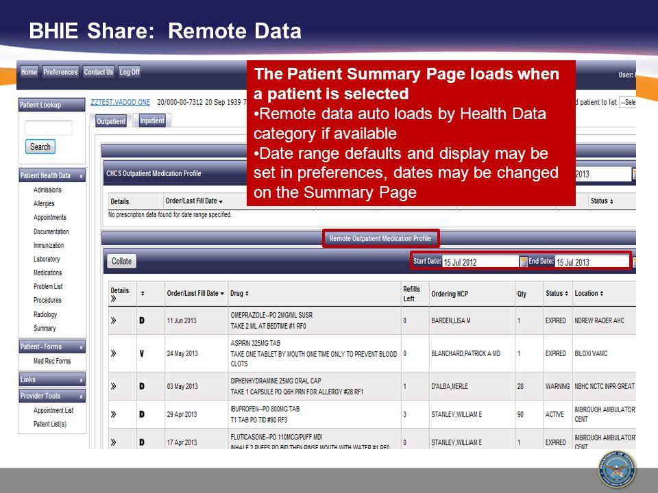 BHIE Share: Remote Data