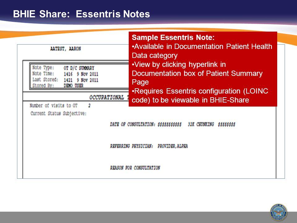 BHIE Share: Essentris Notes