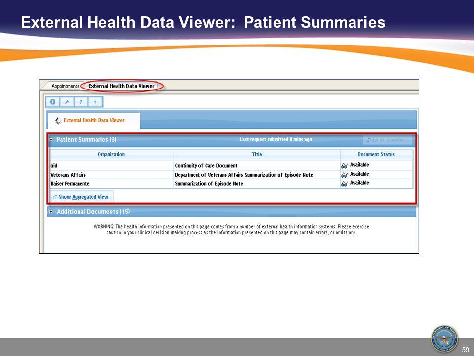 External Health Data Viewer: Patient Summaries