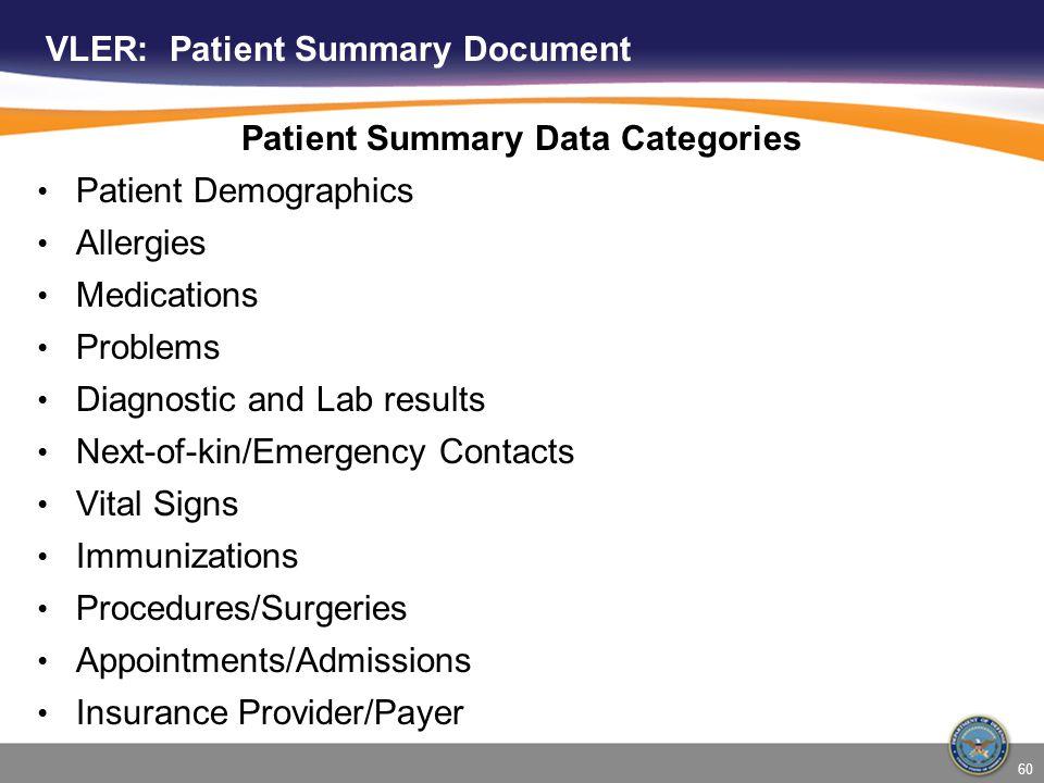 VLER: Patient Summary Document