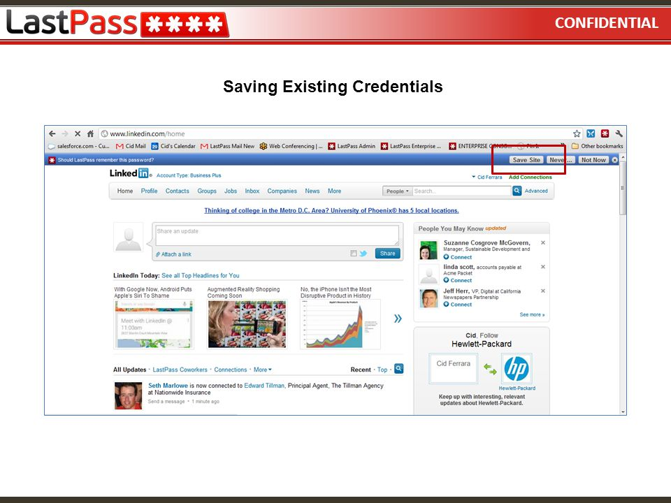 Saving Existing Credentials