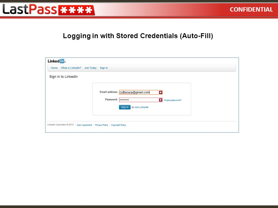 Logging in with Stored Credentials (Auto-Fill)