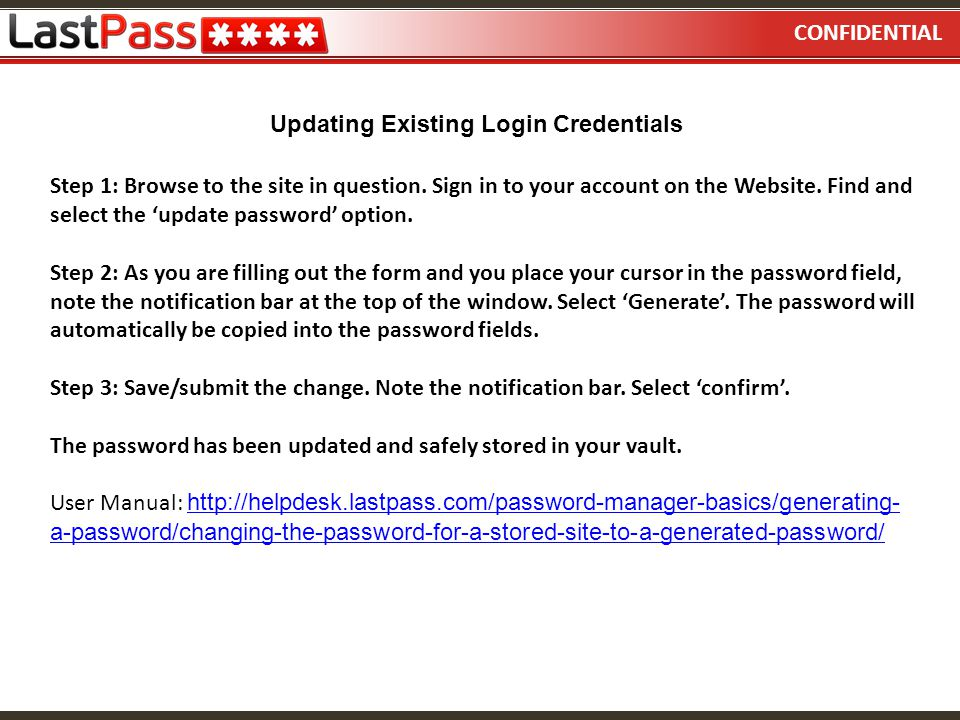 Updating Existing Login Credentials