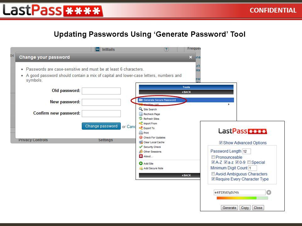 Updating Passwords Using 'Generate Password' Tool