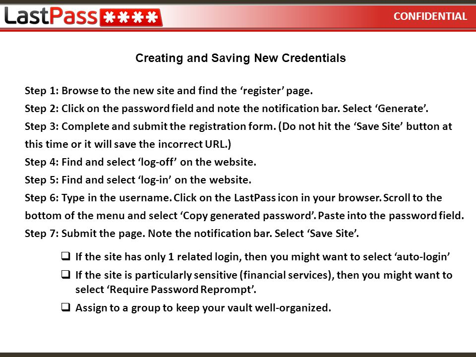 CONFIDENTIAL Creating and Saving New Credentials.
