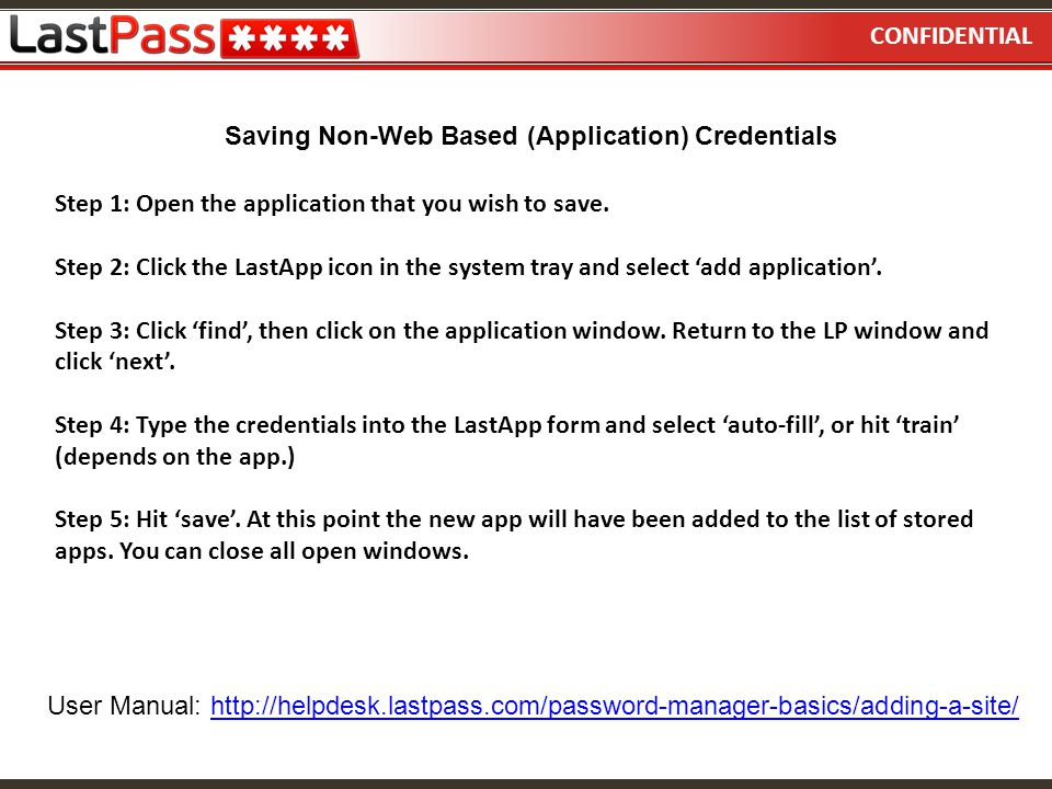 Saving Non-Web Based (Application) Credentials