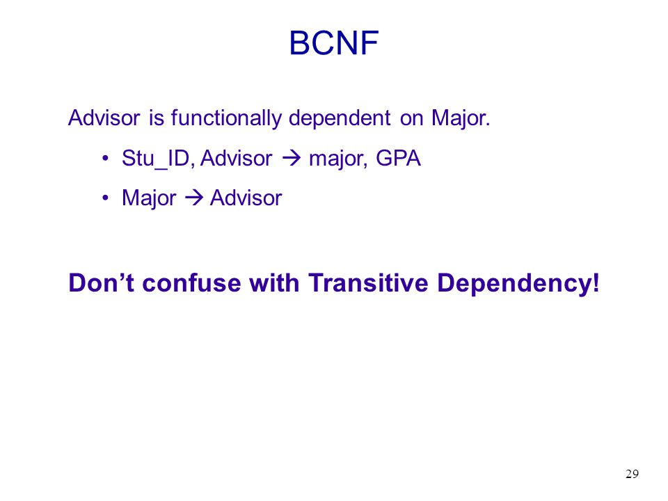 BCNF Don't confuse with Transitive Dependency!