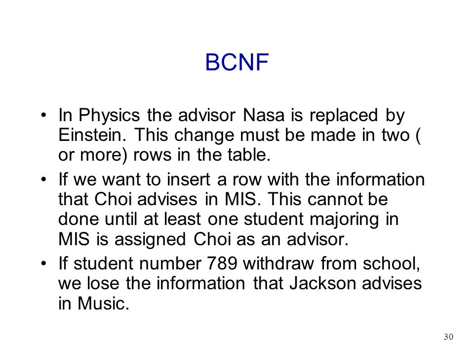 BCNF In Physics the advisor Nasa is replaced by Einstein. This change must be made in two ( or more) rows in the table.