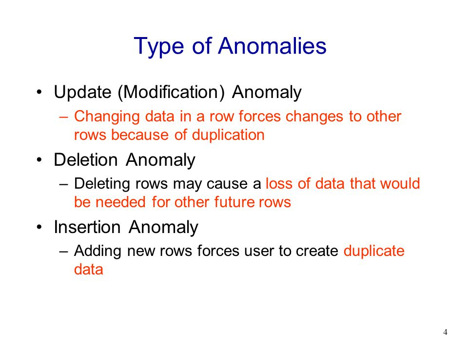 Type of Anomalies Update (Modification) Anomaly Deletion Anomaly