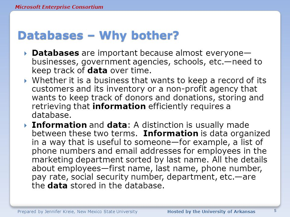 Databases – Why bother