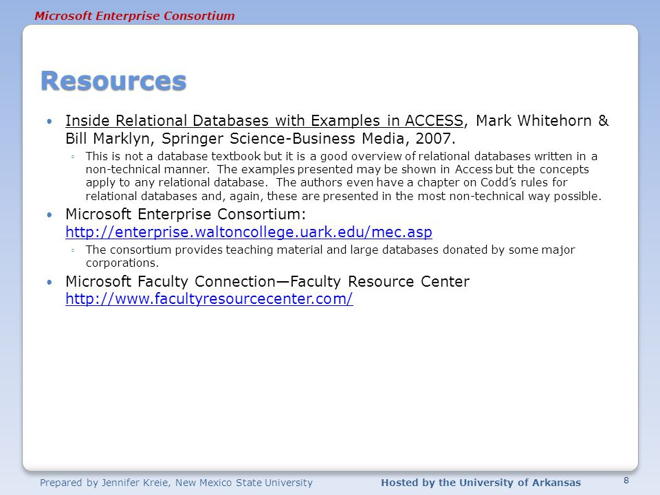 Resources Inside Relational Databases with Examples in ACCESS, Mark Whitehorn & Bill Marklyn, Springer Science-Business Media, 2007.