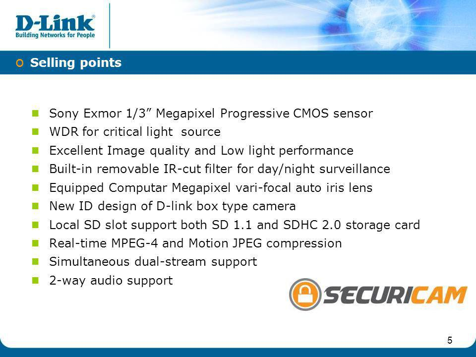 IPv6 Selling points Sony Exmor 1/3 Megapixel Progressive CMOS sensor