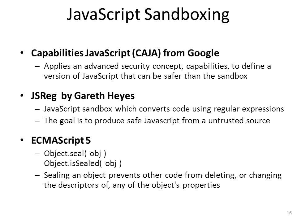 JavaScript Sandboxing