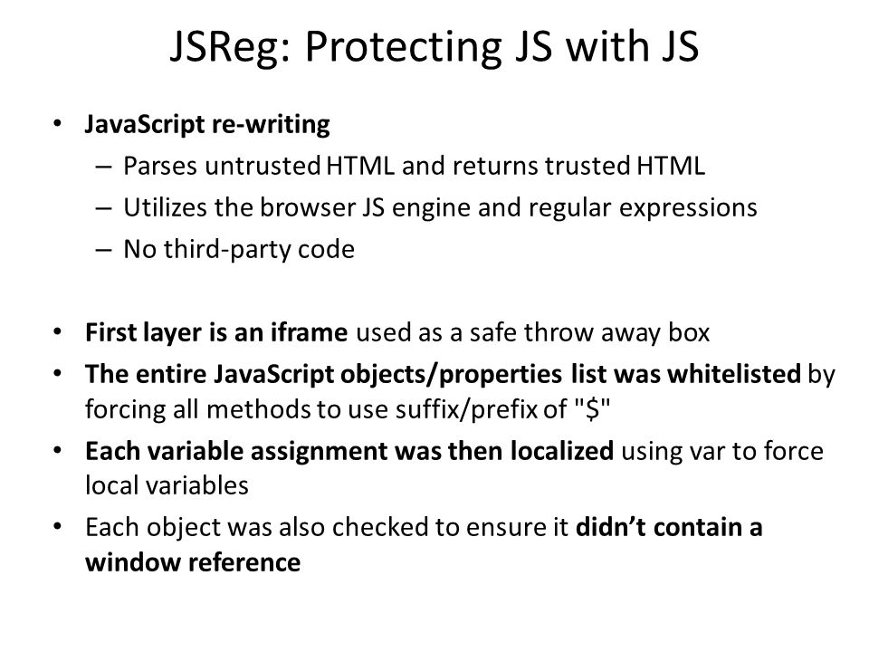 JSReg: Protecting JS with JS