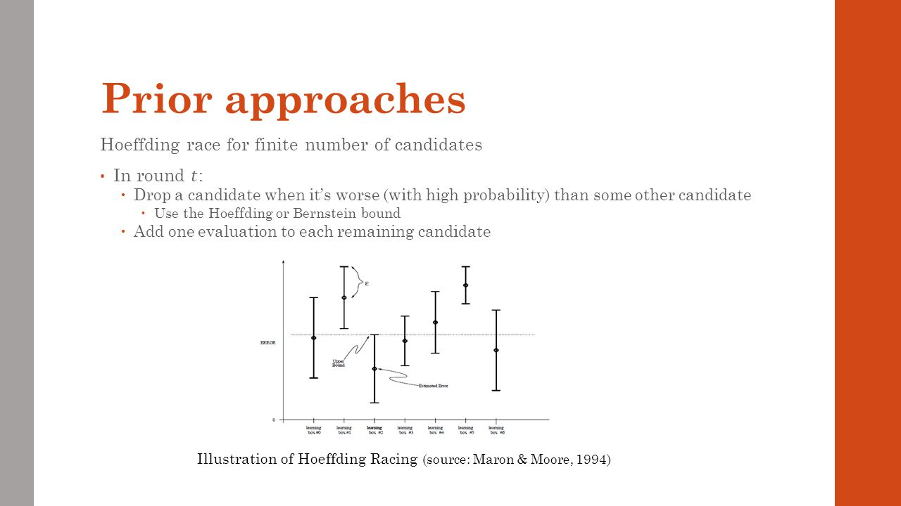 Prior approaches Hoeffding race for finite number of candidates