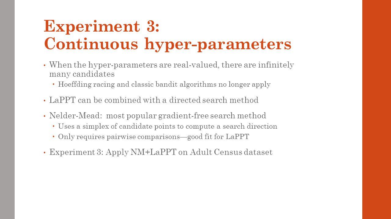 Experiment 3: Continuous hyper-parameters