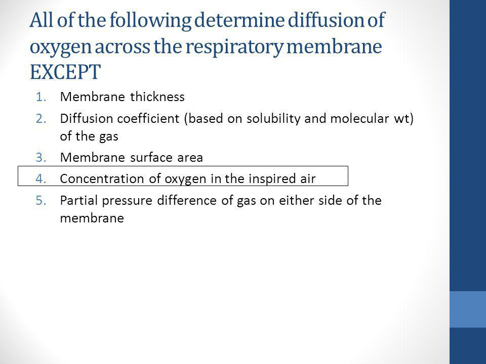 All of the following determine diffusion of oxygen across the respiratory membrane EXCEPT
