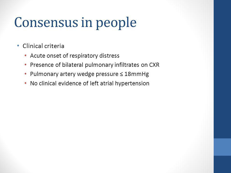 Consensus in people Clinical criteria