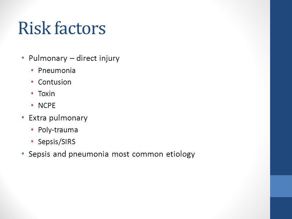 Risk factors Pulmonary – direct injury Extra pulmonary
