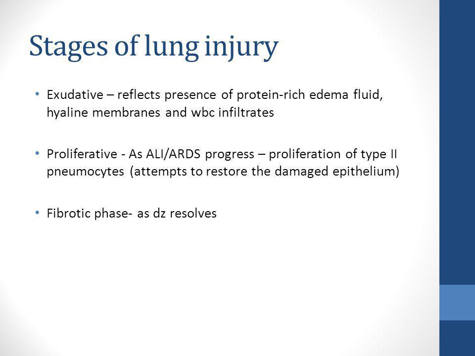 Stages of lung injury Exudative – reflects presence of protein-rich edema fluid, hyaline membranes and wbc infiltrates.