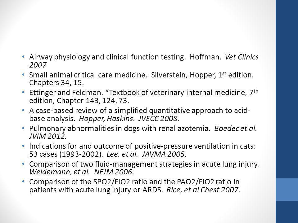 Airway physiology and clinical function testing. Hoffman