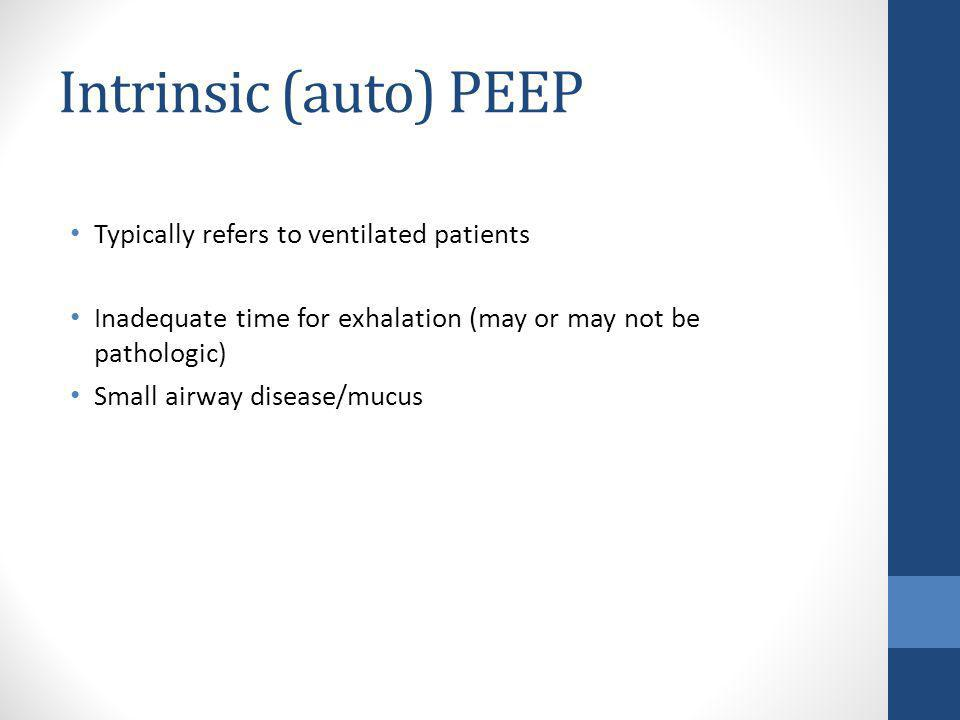 Intrinsic (auto) PEEP Typically refers to ventilated patients