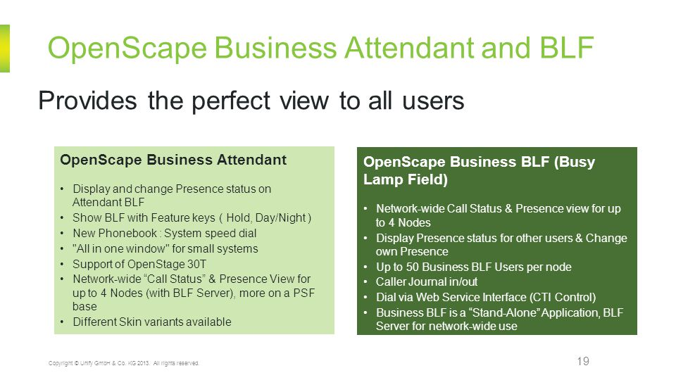 OpenScape Business Attendant and BLF