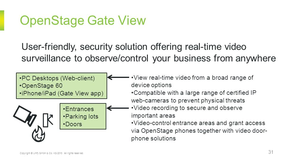 OpenStage Gate View User-friendly, security solution offering real-time video. surveillance to observe/control your business from anywhere.