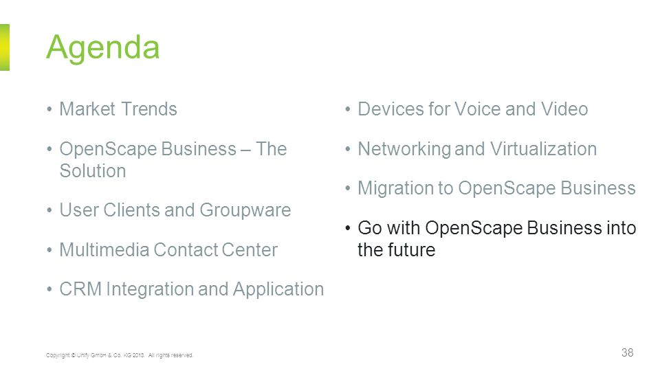 Agenda Market Trends Devices for Voice and Video