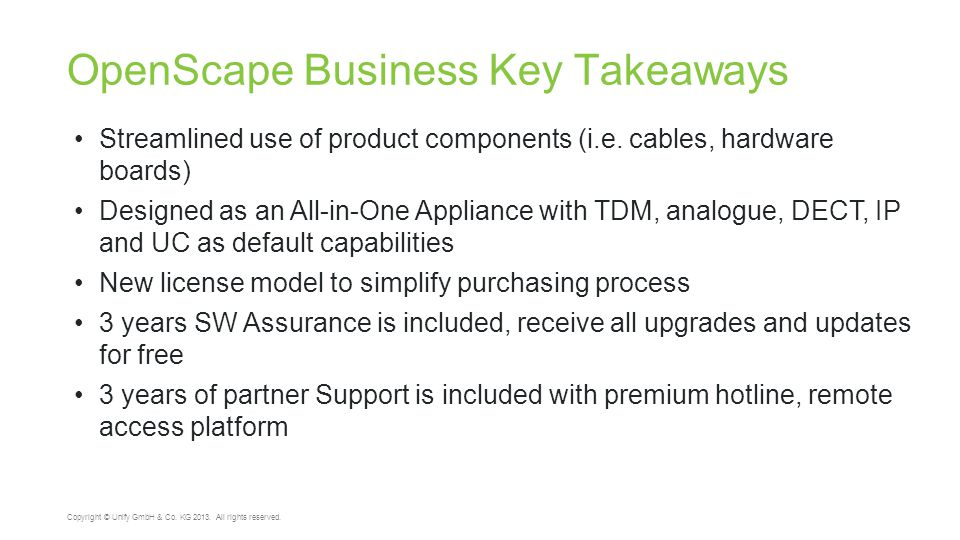 OpenScape Business Key Takeaways