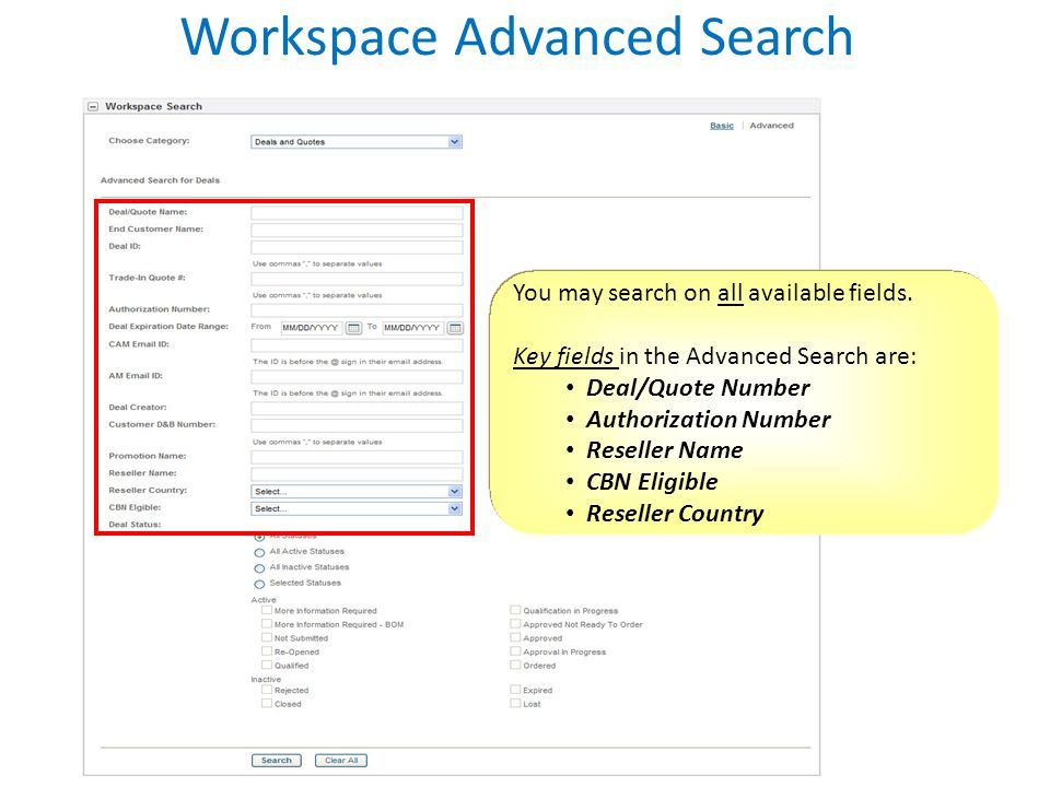 Workspace Advanced Search
