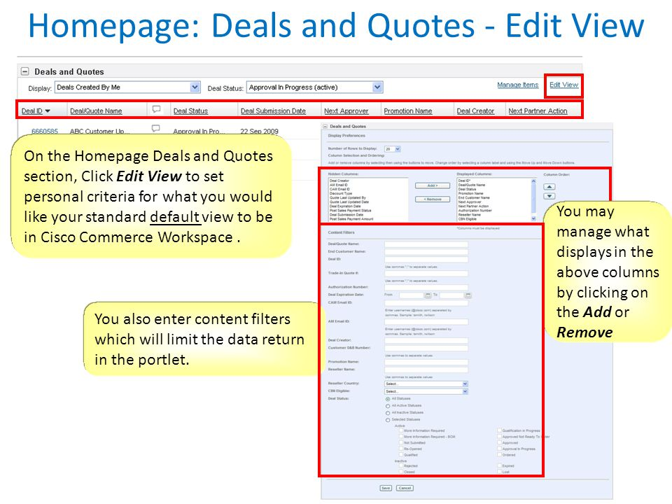 Homepage: Deals and Quotes - Edit View