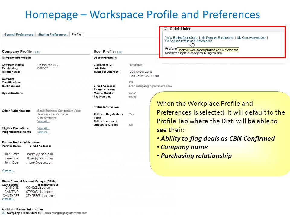 Homepage – Workspace Profile and Preferences