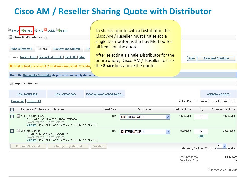 Cisco AM / Reseller Sharing Quote with Distributor