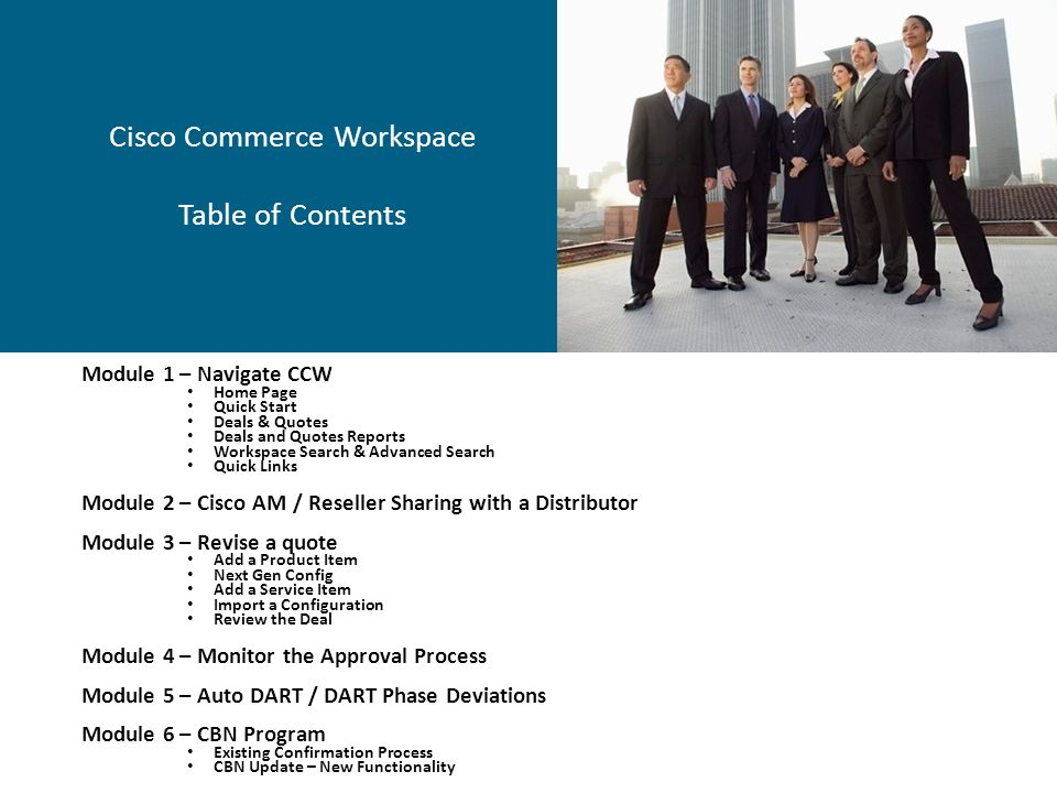 Cisco Commerce Workspace Table of Contents