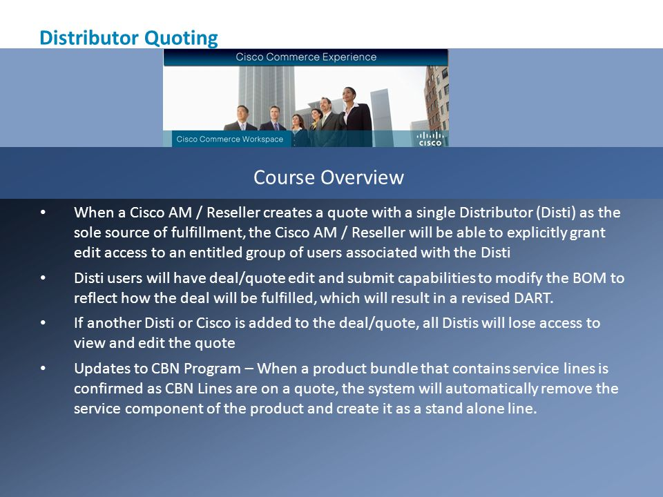Distributor Quoting Course Overview