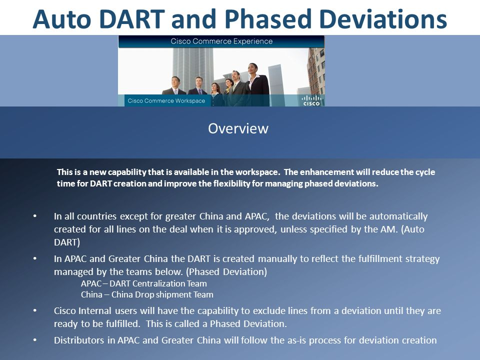 Auto DART and Phased Deviations