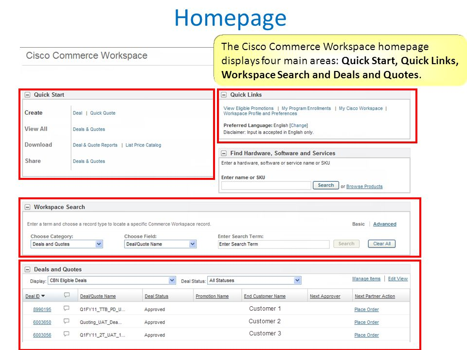 Homepage The Cisco Commerce Workspace homepage displays four main areas: Quick Start, Quick Links, Workspace Search and Deals and Quotes.
