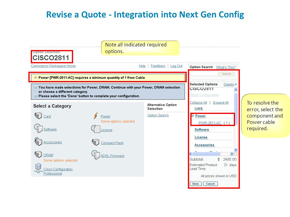 Revise a Quote - Integration into Next Gen Config