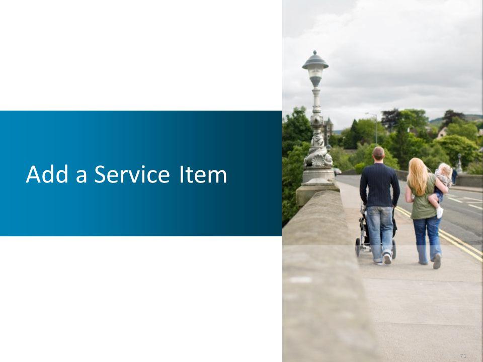 Add a Service Item 71 71