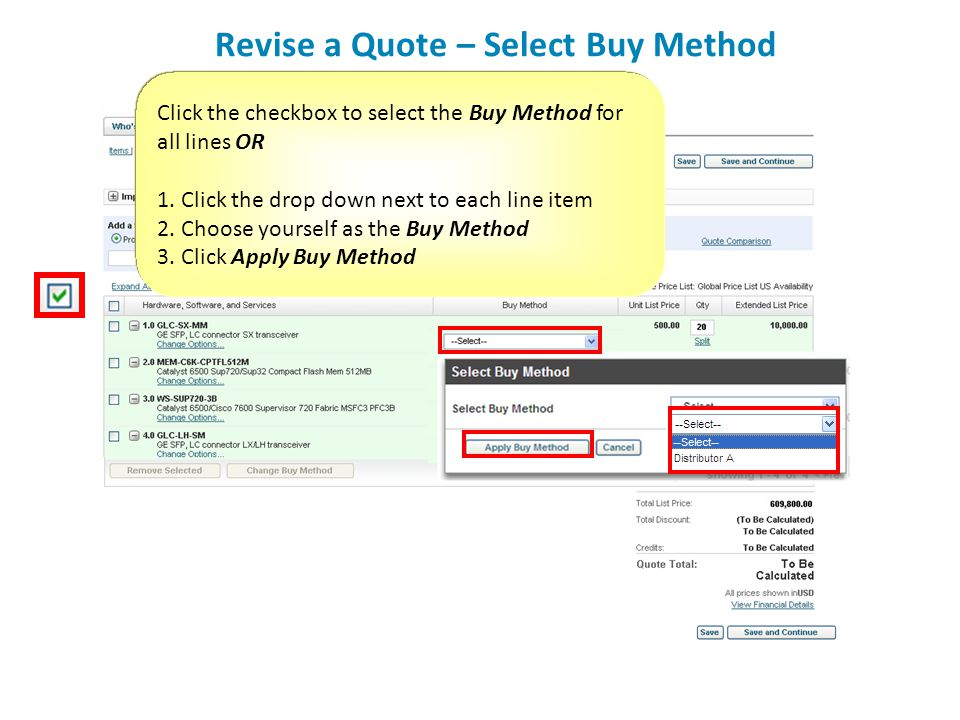 Revise a Quote – Select Buy Method