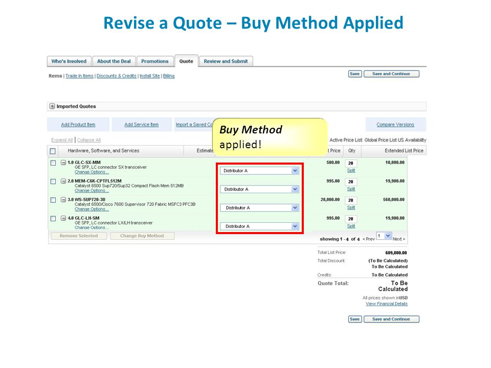 Revise a Quote – Buy Method Applied