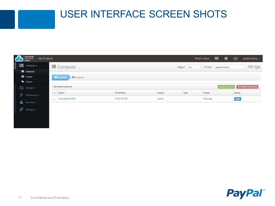 User interface screen shots