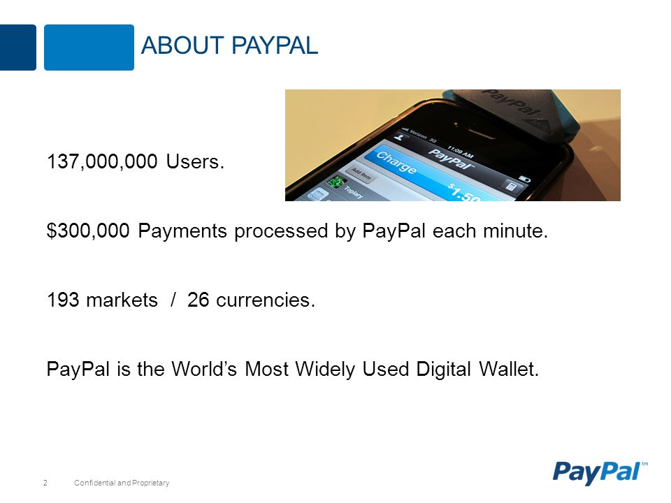 About paypal 137,000,000 Users. $300,000 Payments processed by PayPal each minute. 193 markets / 26 currencies.