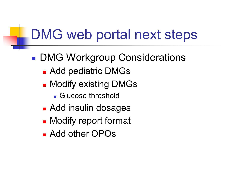 DMG web portal next steps